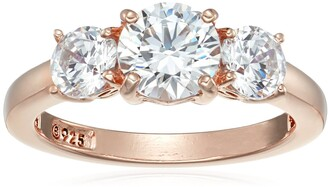 Amazon Collection Rose-Gold-Plated Sterling Silver Round 3-Stone Ring made with Swarovski Zirconia (2 cttw) Size 8