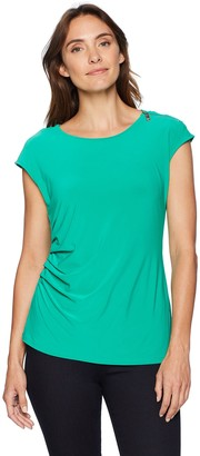 Chaus Women's S/S Zip Shoulder Ruched Top