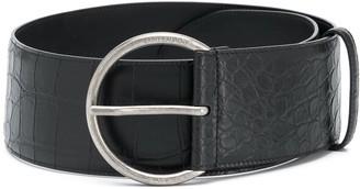Saint Laurent Crocodile-Embossed Leather Belt