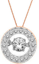 JCPenney FINE JEWELRY Love in Motion 1/4 CT. T.W. Diamond 10K Rose Gold Round Pendant Necklace
