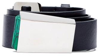 Gabriela Hearst Car-buckle Leather Belt - Womens - Navy