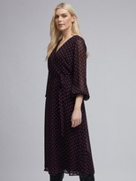 Dorothy Perkins Polka Dot Long Sleeve Chiffon Wrap Midi Dress - Black