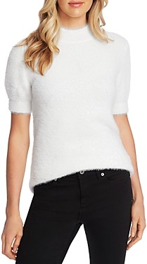 CeCe Short Sleeve Mock Neck Eyelash Sweater