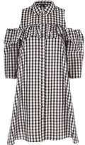 River Island Womens Black gingham cold shoulder frill shirt dress