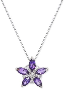 """Macy's Amethyst (2-3/4 ct. t.w.) & Diamond Accent 18"""" Pendant Necklace in 14k White Gold"""