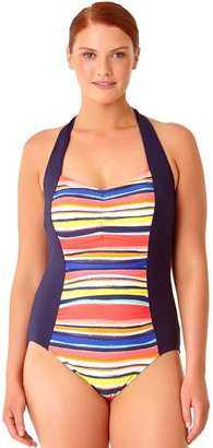 Anne Cole Women's Plus Size Striped One Piece Sexy Swimsuit