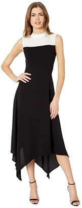BCBGMAXAZRIA Color-Block Dress (Black) Women's Dress