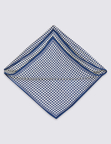 M&S Collection Pure Silk Checked Pocket Square