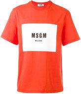 MSGM colour block logo print T-shirt - men - Cotton - L