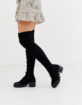Asos Design DESIGN Kinetic chunky front zip thigh high boots-Black