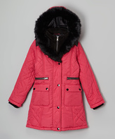 KC Collections Raspberry Faux Fur Quilted Puffer Jacket - Girls