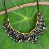 Handmade Agate Beaded Necklace with Brass Beads, 'Party'