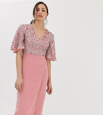 Maya Tall sequin top midi pencil dress with flutter sleeve detail in vintage rose