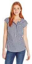 U.S. Polo Assn. Juniors' Cap-Sleeve Half-Placket Pullover Check Blouse
