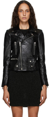 Saint Laurent Black Leather Biker Jacket