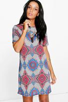 Boohoo Emma Cap Sleeve Printed Shift Dress