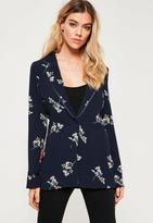 Missguided Blue Ditsy Floral Print Crepe Blazer