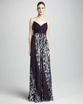 Robert Rodriguez Olivia Animal-Print Silk Gown
