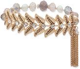 lonna & lilly Gold-Tone Crystal Leaf Beaded Stretch Bracelet