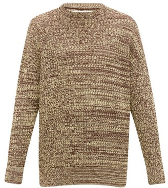 Jil Sander Brioche-knit Crew-neck Cotton Sweater - Mens - Brown