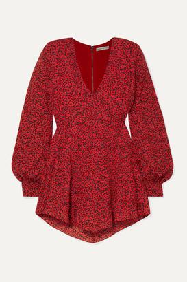 Alice + Olivia Polly Wrap-effect Animal-print Crepe Mini Dress - Red