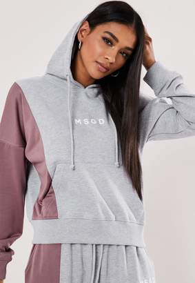 Missguided Active Grey Msgd Stripe Insert Hoodie