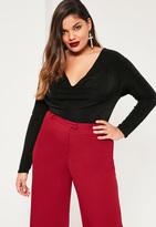 Missguided Plus Size Black Cowl Neck Bodysuit