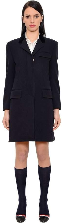 Thom Browne Wool Chesterfield Coat W/ Velvet Collar