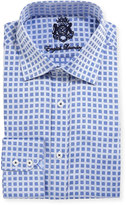 English Laundry Square-Print Cotton Dress Shirt, Navy