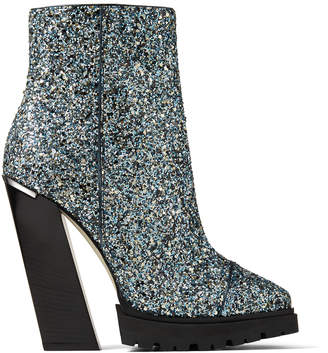 Jimmy Choo MADRA 130 Electric Blue Party Coarse Glitter Fabric Platform Ankle Boots