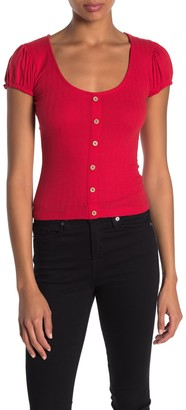 Planet Gold Scoop Neck Puff Sleeve Top