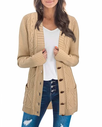 KILIG Women's Cardigan Sweater Open Front Button-Down Long Sleeve Boyfriend Loose Outwear with Pockets(Apricot L)
