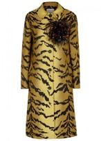 Christopher Kane Tiger-jacquard Wool Blend Coat