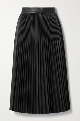 Jason Wu Pleated Faux Leather Midi Skirt - Black