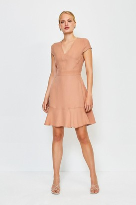 Karen Millen Topstitch V Neck Flippy Hem Dress