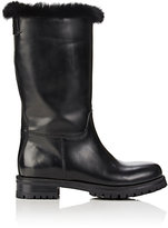 Dolce & Gabbana Women's Fur-Lined Leather Moto Boots-BLACK