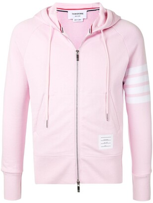 Thom Browne 4-Bar Light Pink Loop Back Full Zip Hoodie