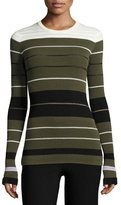 Opening Ceremony Striped Ribbed Crewneck Pullover Sweater, Olive