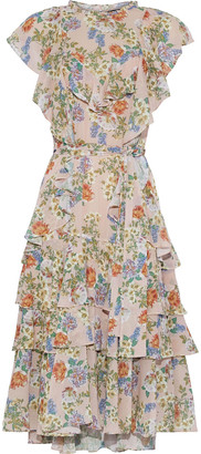 Marissa Webb Sully Tiered Belted Floral-print Georgette Dress