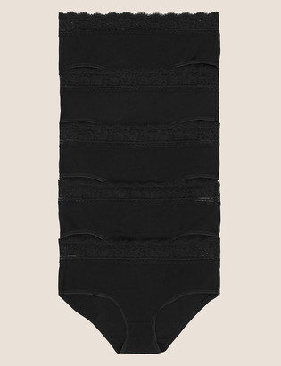 Marks and Spencer 5 Pack Cotton Lycra Lace Midi Knickers