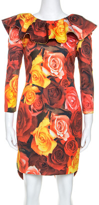 Moschino Red Floral Printed Taffeta Ruffle Detail Short Dress M