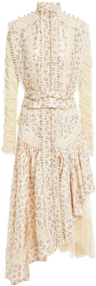 Zimmermann Lace-paneled Pintucked Printed Silk-crepe Dress