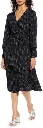 Halogen Long Sleeve Wrap Midi Dress