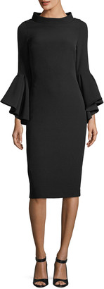 Badgley Mischka Funnel-Collar Bell-Sleeve Sheath Crepe Cocktail Dress