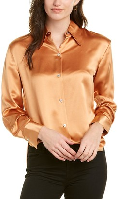 Vince Pointed Collar Silk Blouse