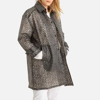 Castaluna Plus Size Waxed Leopard Print Jacket with Pockets