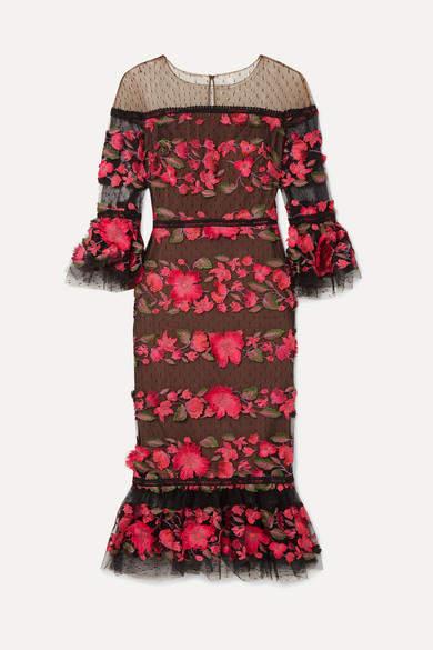 Marchesa Embroidered Point D'esprit Tulle Midi Dress - Black