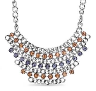 Steve Madden Curb Chain Rhinestone Collar Necklace