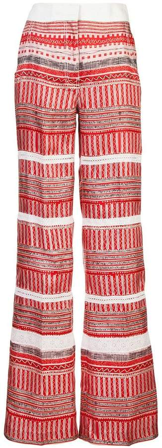 Derek Lam Wide Leg Printed Pant With Lace Insets