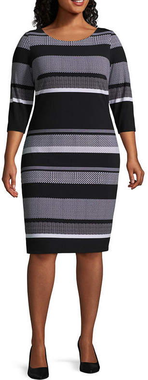 3-4 Sleeve Stripe Shift Dress - Plus